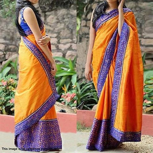 Gorgeous Orange- Blue Designer Partywear Embroidered Paper Silk  Saree