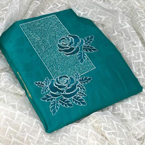 Graceful Turquoise Green Colored Partywear Embroidered Cotton Dress Material