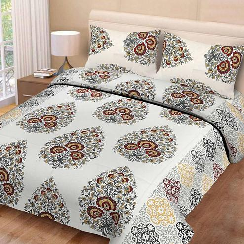 Diva Collection - Multi Colored Printed Cotton King Bedsheet with 2 Pillow Cover