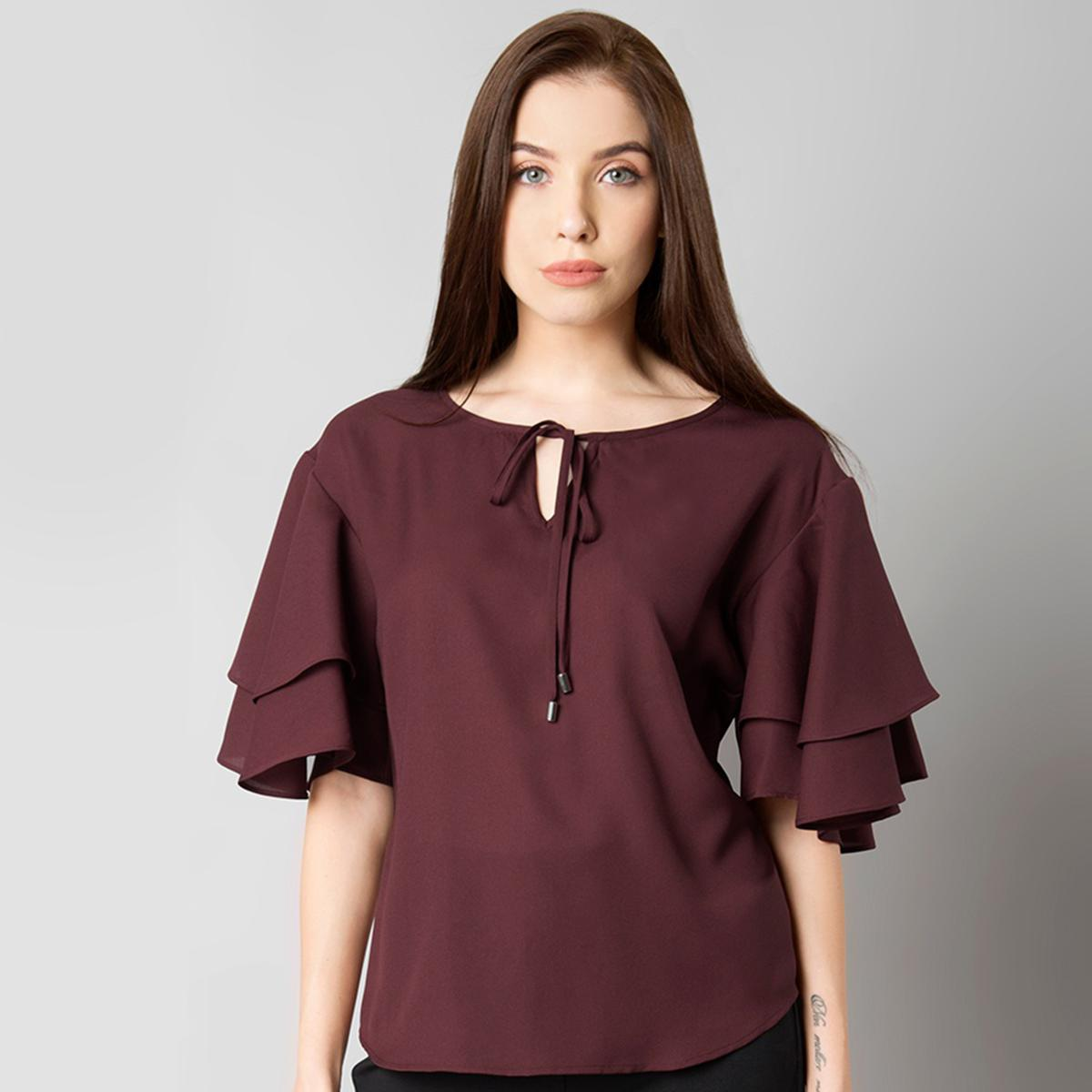Trendy Maroon Casual Wear Pure Crape Top