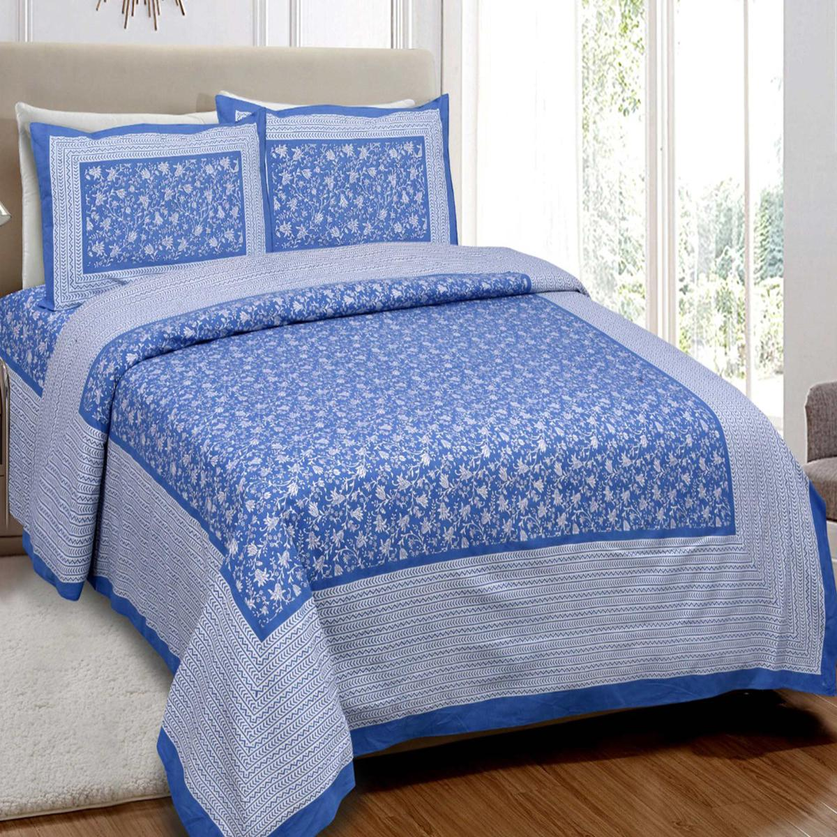 Diva Collection - Blue Colored Printed Cotton King Bedsheet with 2 Pillow Cover