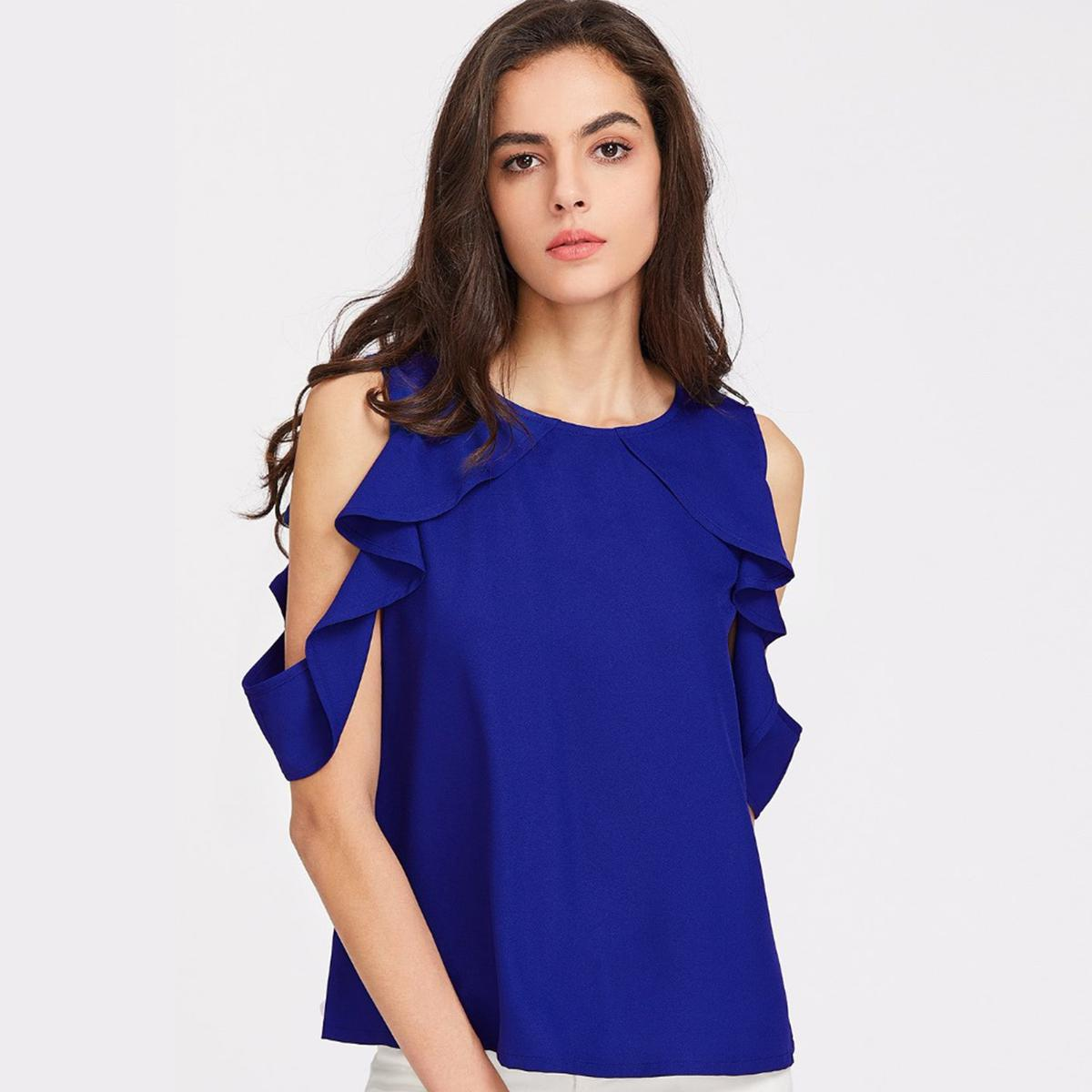 Royal Blue Casual Wear Pure Crape Top