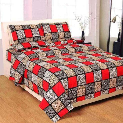 Diva Collection - Red Colored Jaipuri Printed Poly Cotton Double Bedsheet with 2 Pillow Cover