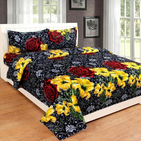 Diva Collection - Black Colored Jaipuri Printed Poly Cotton Double Bedsheet with 2 Pillow Cover