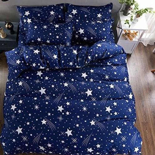 Diva Collection - Navy Blue Colored Jaipuri Printed Poly Cotton Double Bedsheet with 2 Pillow Cover