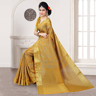 Golden Yellow Thread Embroidered Saree