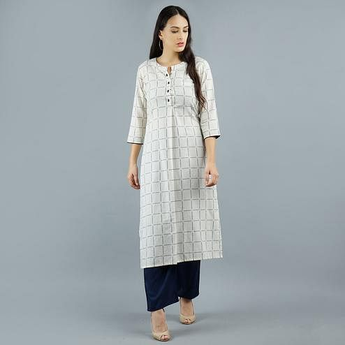 Darzaania - Off White Colored Casual Checkered Cotton Long Kurti