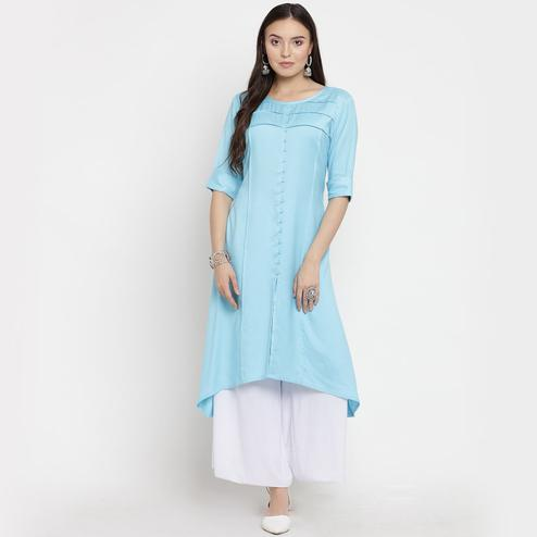 Darzaania - Sky Blue Colored Casual Rayon Pintuck Kurti