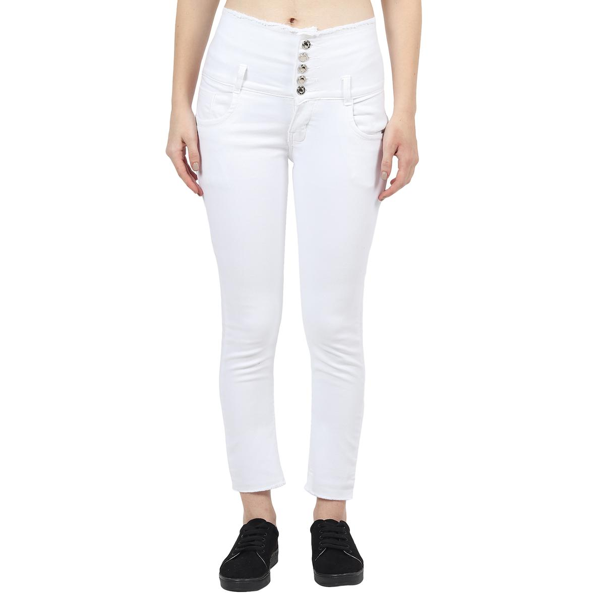Veravibe - High Waist Skinny Fit Frayed Premium White Stretchable Jeans