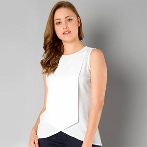 Cool White Casual Wear Pure Georgette Top
