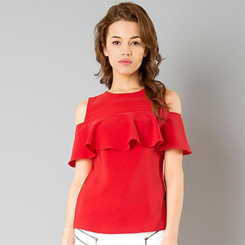 Hot Red Casual Wear Pure Crape Top