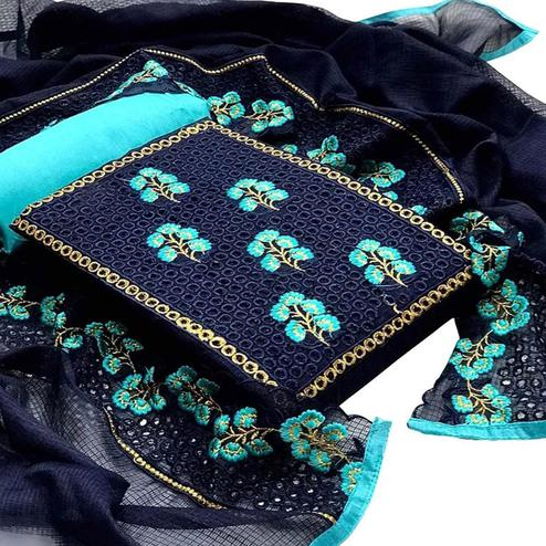 Attractive Navy Blue Colored Partywear Embroidered Kota Chex Dress Material
