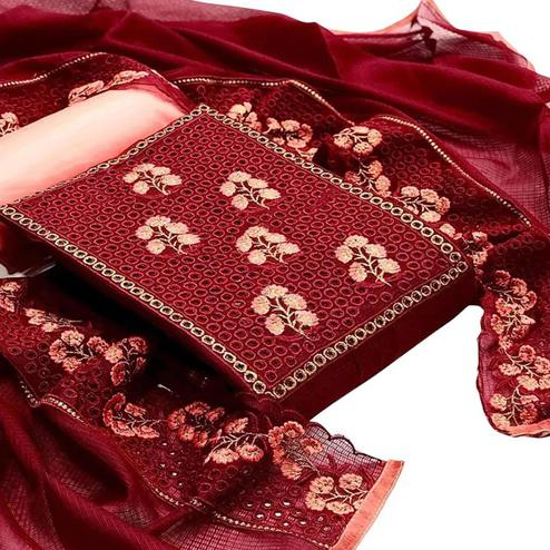 Adorable Maroon Colored Partywear Embroidered Kota Chex Dress Material