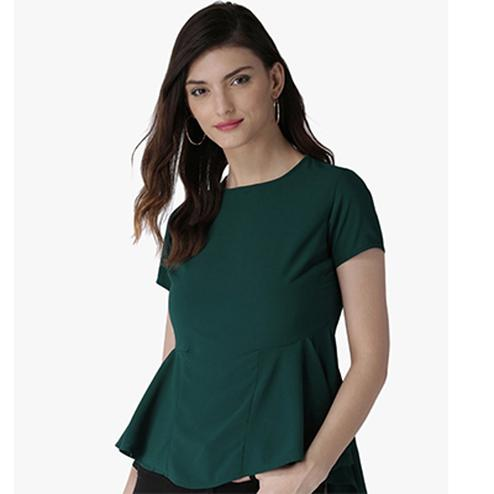 Beautiful Green Casual Wear Pure Crape Top