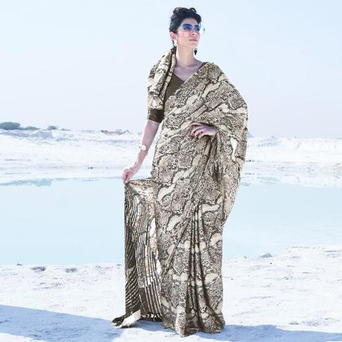 Imposing Cream - Brown Colored Casual Wear Printed Satin Crepe Saree