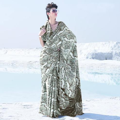 Lovely Offwhite Colored Casual Wear Printed Satin Crepe Saree