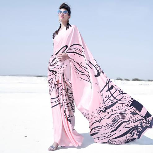 Impressive Light Pink Colored Casual Wear Printed Satin Crepe Saree