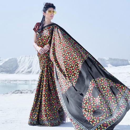 Pleasance Black Colored Casual Wear Printed Satin Crepe Saree
