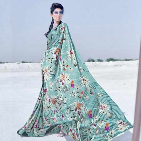 Breathtaking Sea Blue Colored Casual Wear Printed Satin Crepe Saree