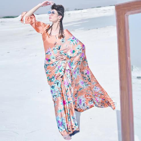 Ethnic Peach Colored Casual Wear Printed Satin Crepe Saree
