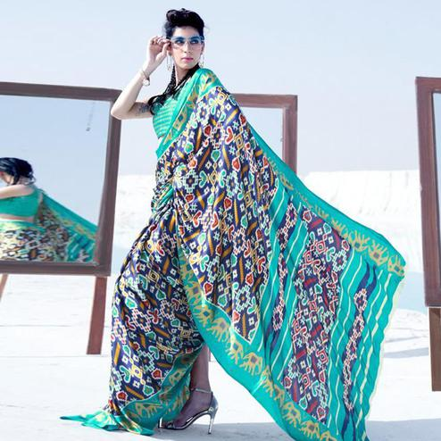 Ravishing Navy Blue - Turquoise Colored Casual Wear Printed Satin Crepe Saree