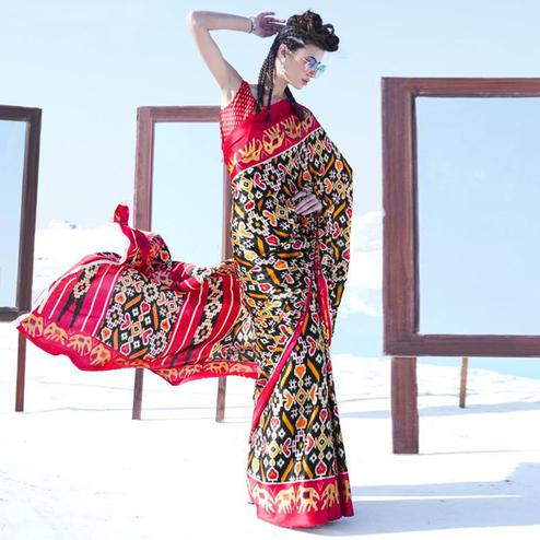 Staring Black - Red Colored Casual Wear Printed Satin Crepe Saree
