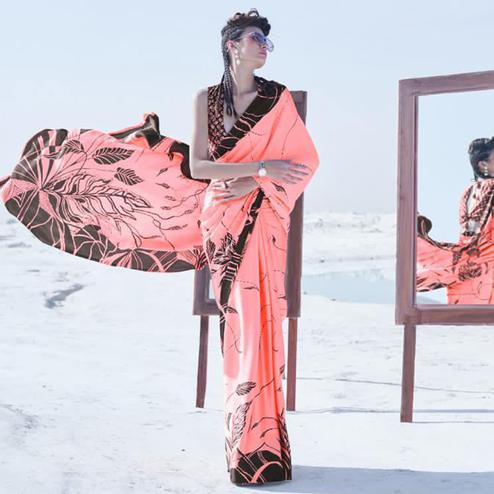 Dazzling Pink Colored Casual Wear Printed Satin Crepe Saree