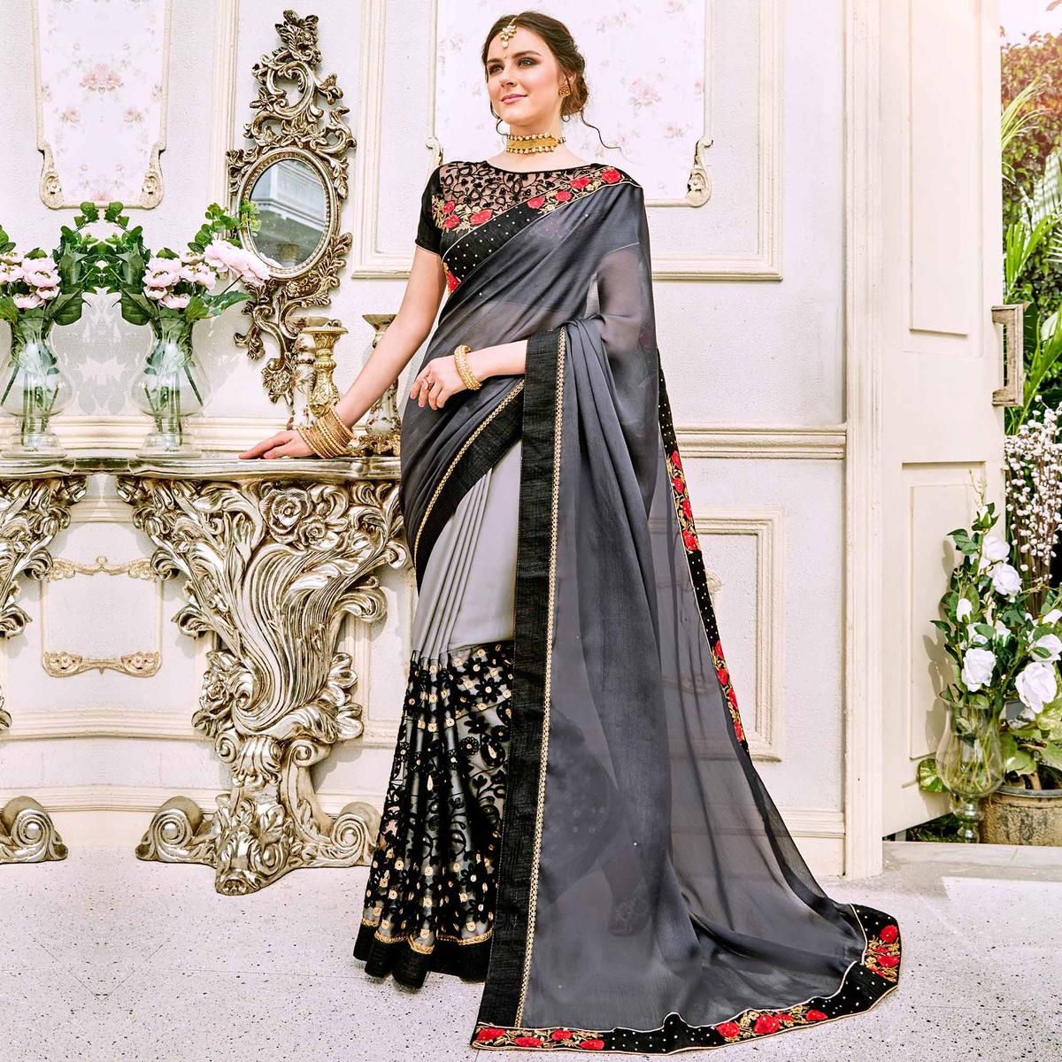 Marvellous Gray-Black Designer Embroidered Georgette Saree