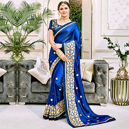 Gorgeous Blue Designer Embroidered Georgette Saree
