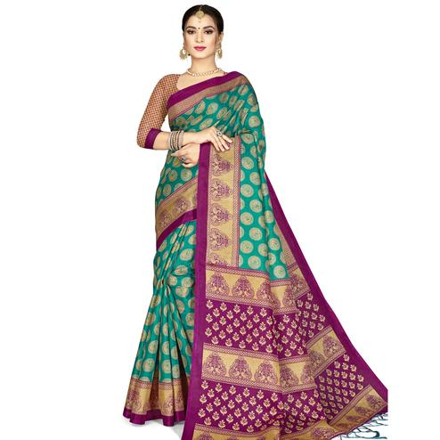 Prominent Green Colored Festive Wear Printed Art Silk Saree With Tassels