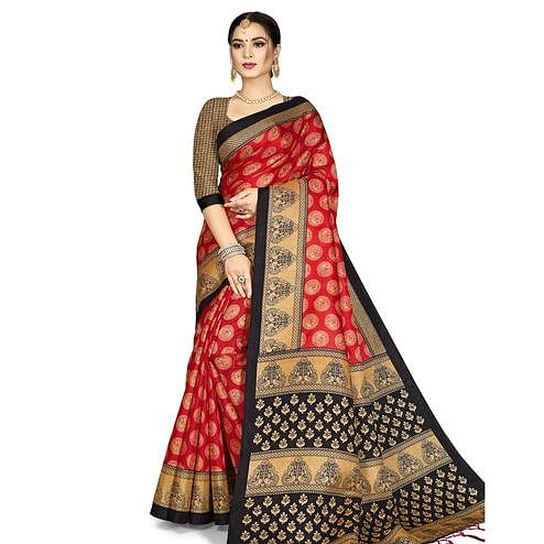 Groovy Red Colored Festive Wear Printed Art Silk Saree With Tassels