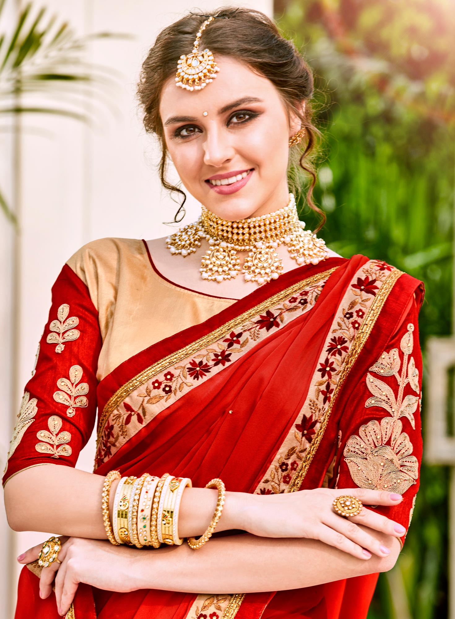 Flamboyant Red Designer Embroidered Georgette Saree