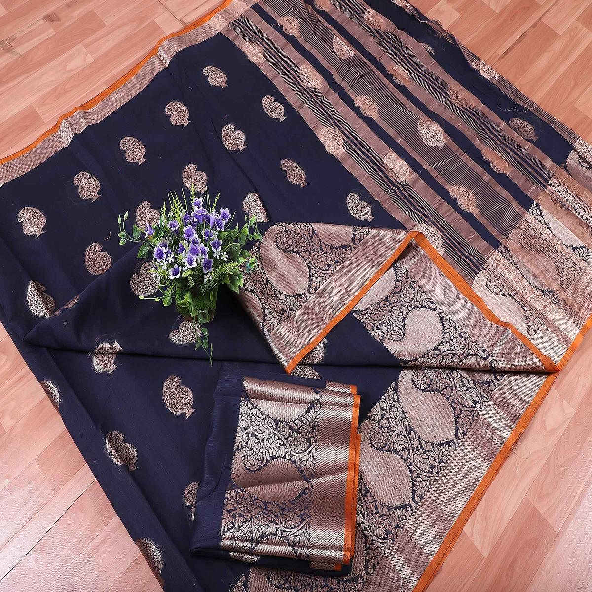 Mesmerising Navy Blue Colored Festive Wear Printed Banarasi Silk Saree