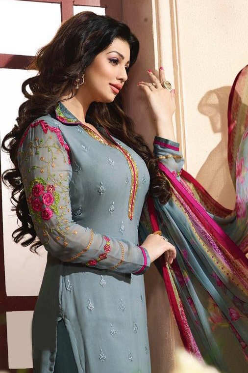Grey Embroidered Salwar Suit
