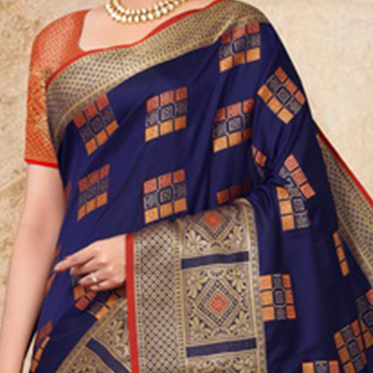 Desirable Navy Blue Colored Festive Wear Printed Banarasi Silk Saree