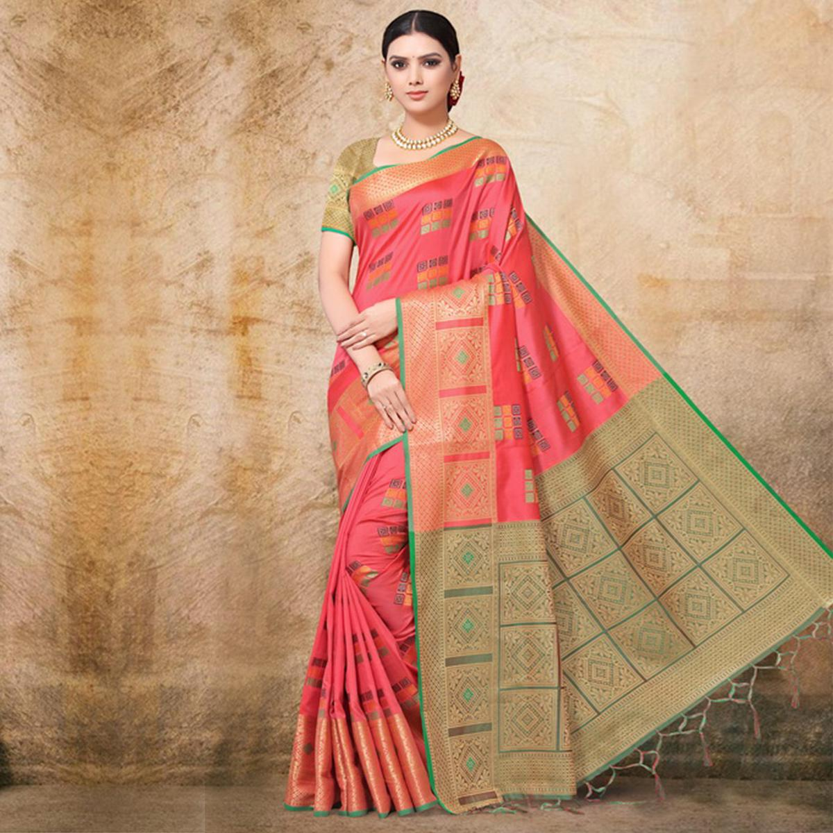 Exotic Pink Colored Festive Wear Printed Banarasi Silk Saree