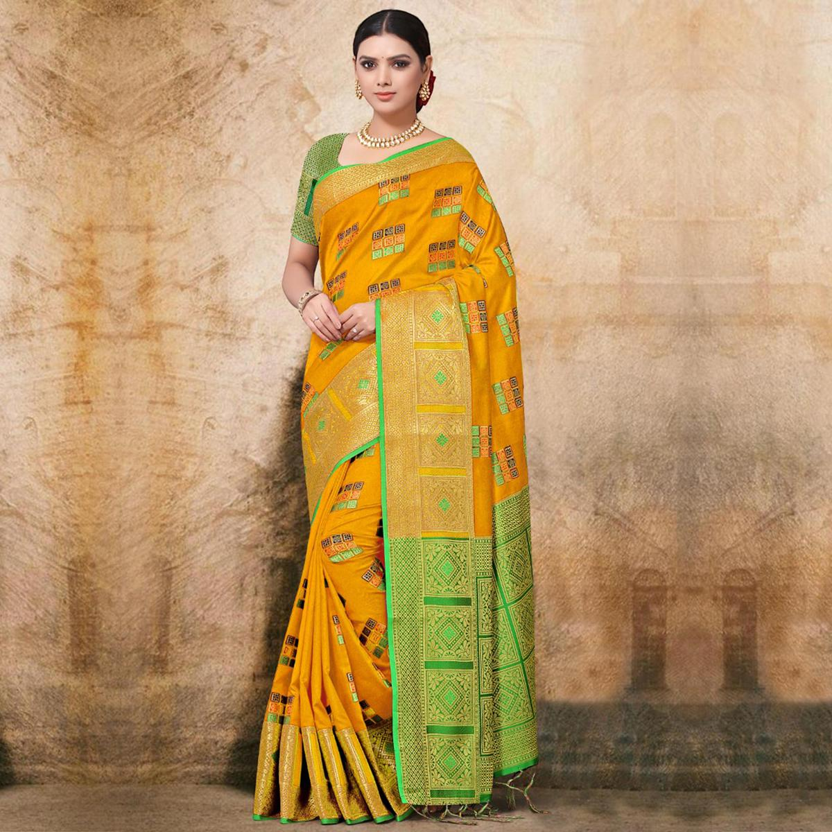 Trendy Yellow Colored Festive Wear Printed Banarasi Silk Saree
