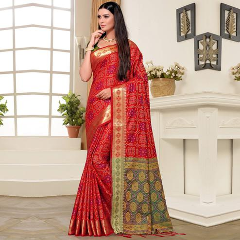 Elegant Red Colored Festive Wear Printed Banarasi Silk Saree