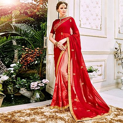 Beautiful Maroon And Peach Colored Designer Embroidered Georgette Saree