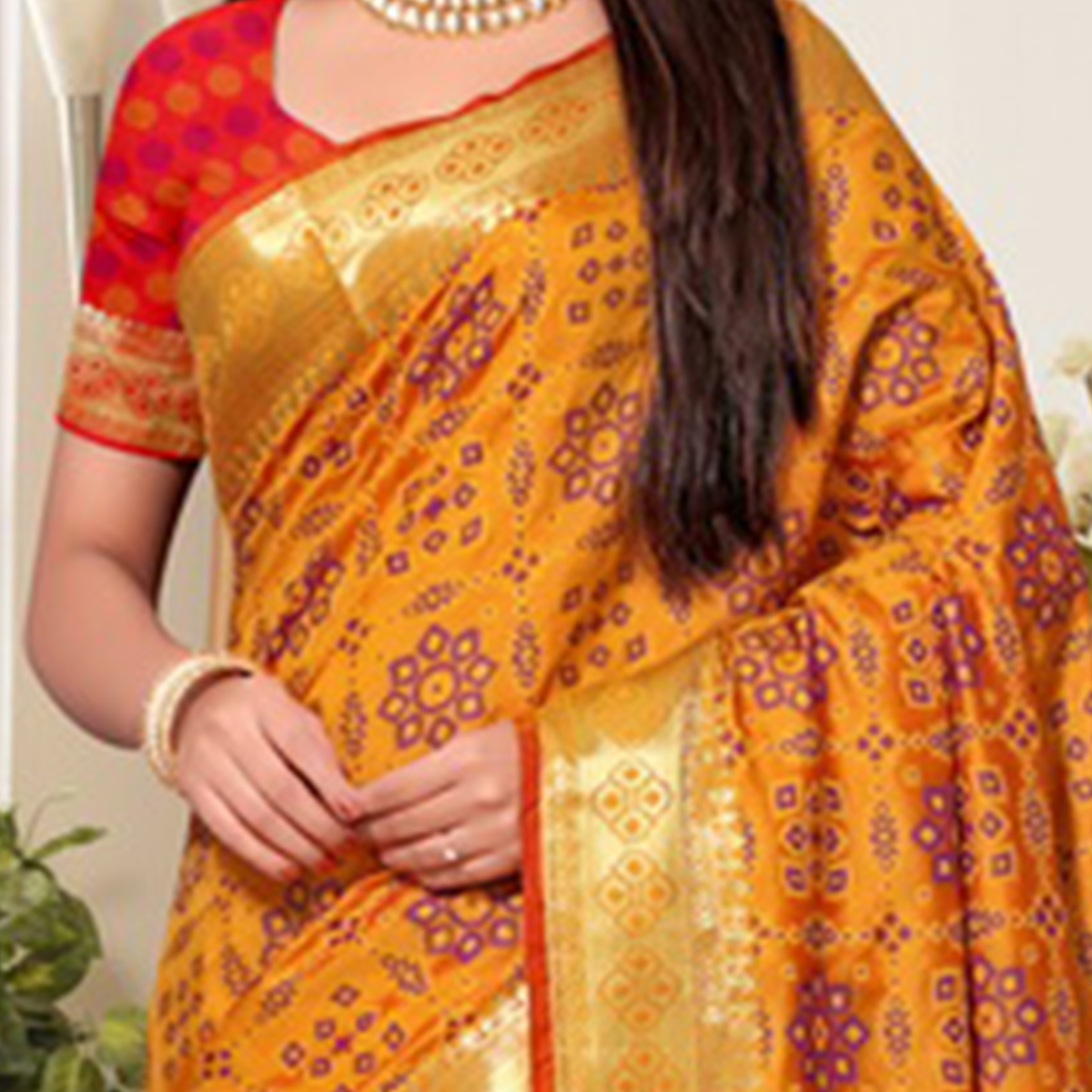 Radiant Yellow Colored Festive Wear Printed Banarasi Silk Saree