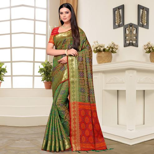 Pleasant Green Colored Festive Wear Printed Banarasi Silk Saree