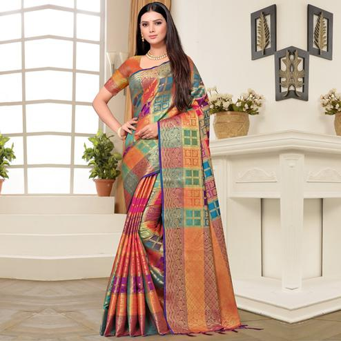 Glowing Multi Colored Festive Wear Printed Banarasi Silk Saree