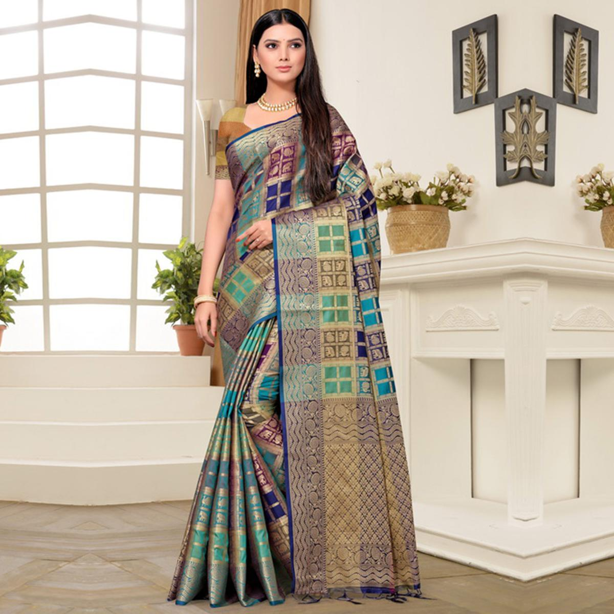Exceptional Blue-Green Colored Festive Wear Printed Banarasi Silk Saree