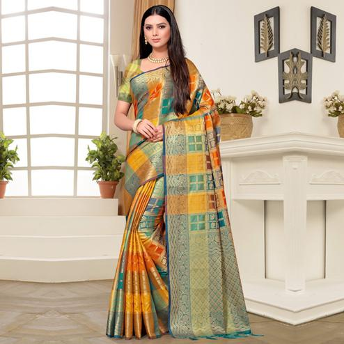 Gleaming Yellow Colored Festive Wear Printed Banarasi Silk Saree