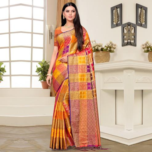 Mesmeric Orange Colored Festive Wear Printed Banarasi Silk Saree