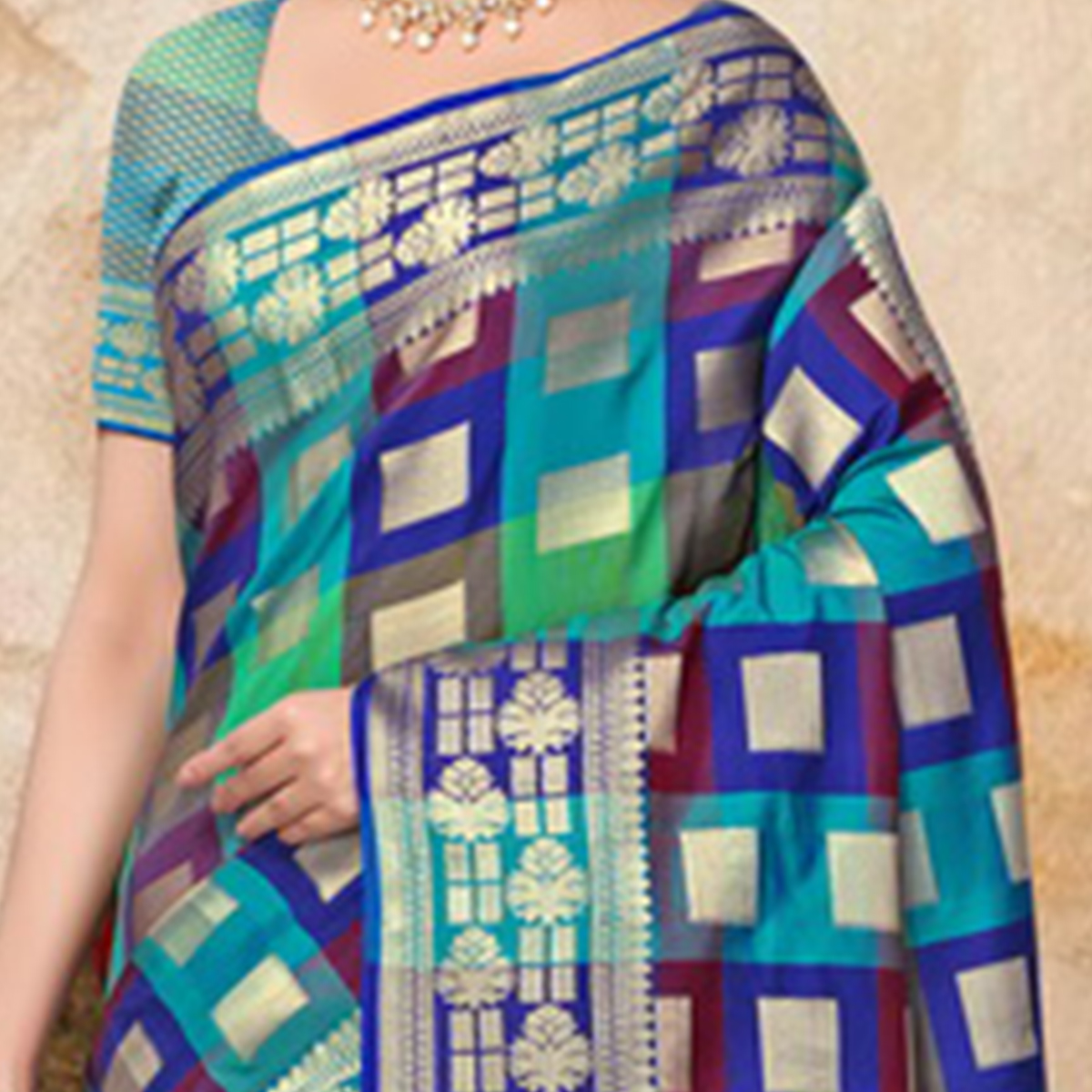 Magnetic Blue Colored Festive Wear Printed Banarasi Silk Saree