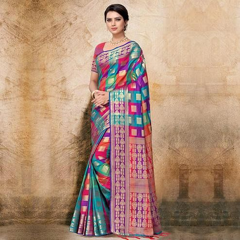Hypnotic Multi Colored Festive Wear Printed Banarasi Silk Saree