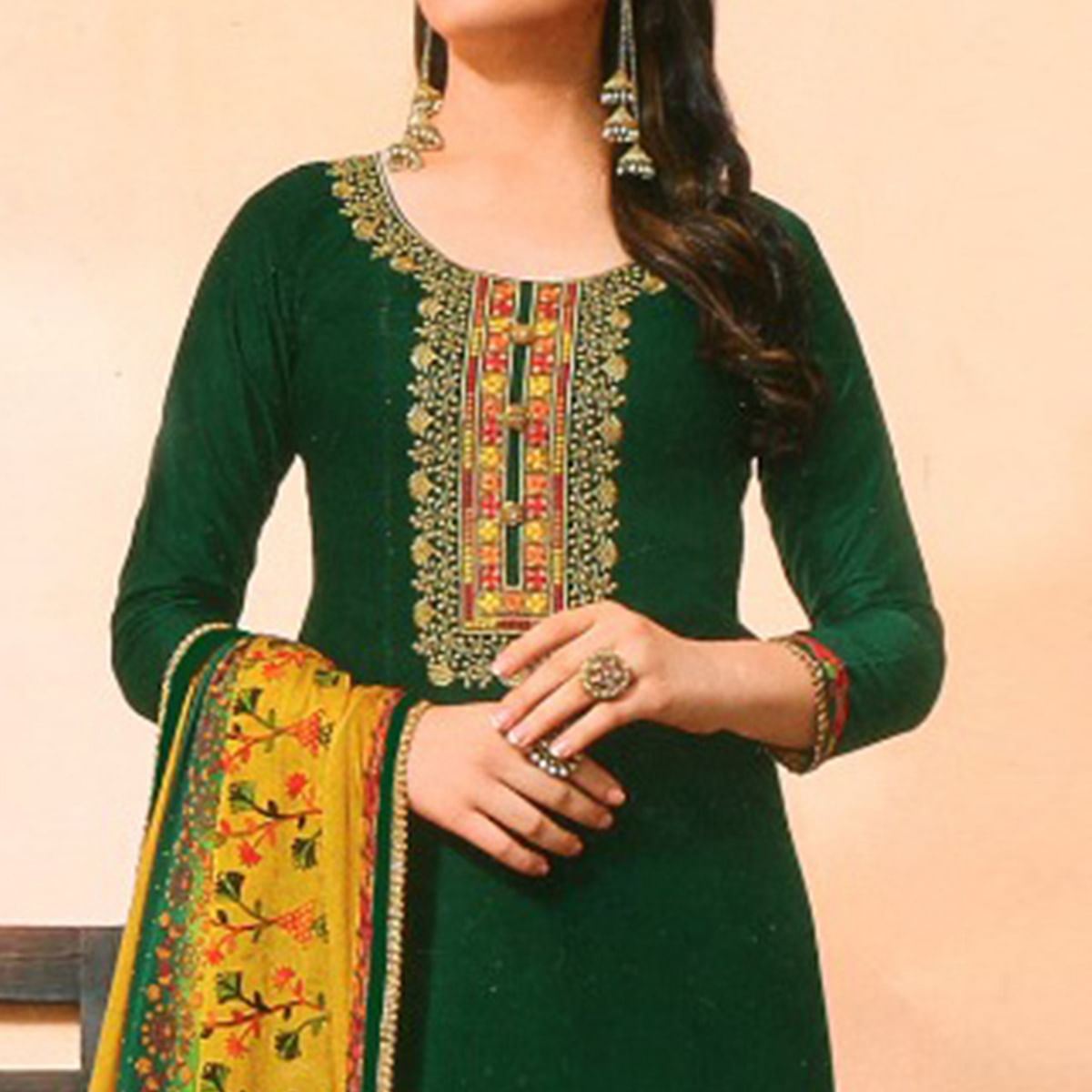 Ravishing Green Colored Partywear Embroidered Jam Satin Suit