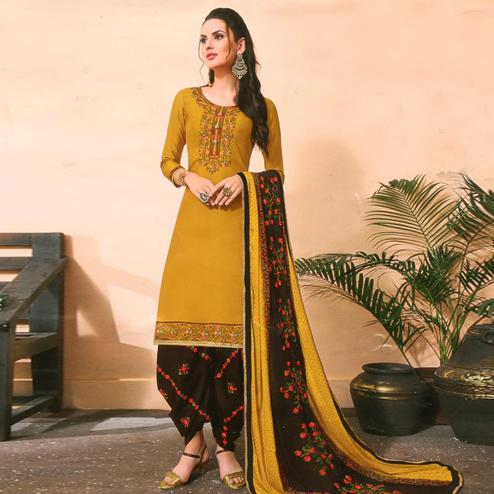 Dazzling Mustard Colored Partywear Embroidered Jam Satin Suit