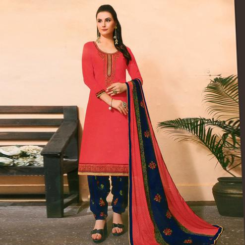 Surpassing Pink Colored Partywear Embroidered Jam Satin Suit
